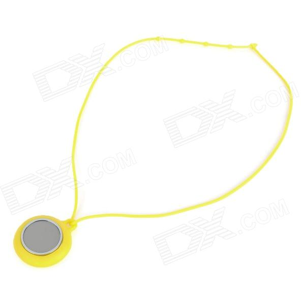 Fashion Silicone Chain Red LED Water Resistant Round Pendant Watch - Yellow + Silver (1 x CR2032) fashion stainless steel red yellow led water resistant wrist watch black 2 x cr2016