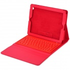 Wireless Bluetooth V3.0 76-Key QWERTY Keyboard w/ PU Leather Case for New Ipad - Red