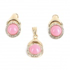 Elegant Decoration Acylic Rhinestone Earrings Pendant Set - Pink + Golden