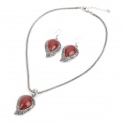 Elegant Leaf Shape Acrylic Ruby Necklace + Earrings Set - Red + Silver
