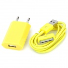 Portable USB Data & Charging Cable w/ EU Plug for iPhone 4 / 4S - Yellow (96CM)