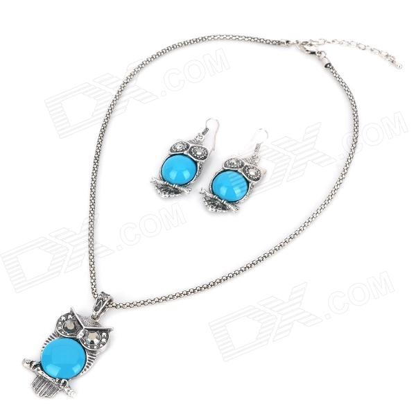 Owl Style Acrylic Necklace + Earrings Set - Blue
