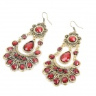 Elegant Acrylic Ruby Peacock Earrings - Red + Golden (Pair)