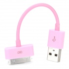 Portable USB Data & Charging Cable for iPhone 4 / 4S - Pink (12.8CM)