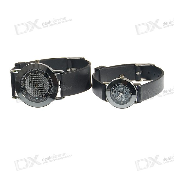 Cool Circular Steel Wristwatch for Lovers and Couples (2-Watch Set)