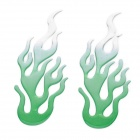 Crystal Flame Pattern Car Decorative Stickers - Green (Pair)