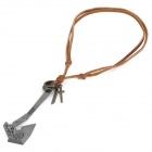 Cool Punk Style Cowhide Chain Zinc Alloy Military Axe Pendant Necklace - Brown + Silver