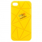 Irregular Gap Coin Stand Protective Plastic Case w/ 2012 Olympics Logo for iPhone 4 / 4S - Yellow