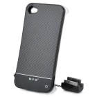 Ultra-Slim Rechargeable 1800mAh Battery Back Case w/ Charging Strap for iPhone 4 / 4S - Black