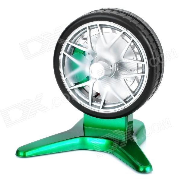 Wheel Style ABS 3-Fan-Blade USB Fan - Green + Black + Silver
