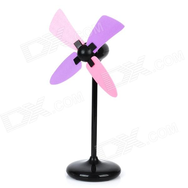 Stylish ABS 4-Fan-Blade USB Fan - Black (3 x AAA)