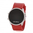 Fashion Silikon-Band Red LED-Armbanduhr Water Resistant - Rot + Silber (1 x CR2032)