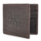 Stylish Barcelona FC Logo Genuine Leather Wallet Purse - Coffee