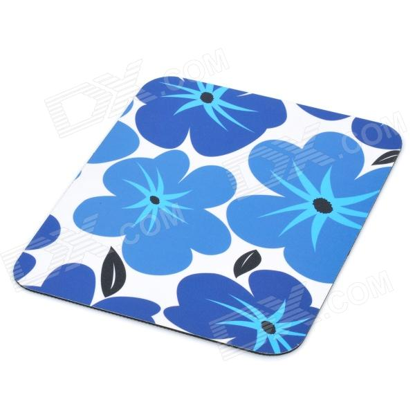 Stylish Rubber + PVC Mouse Pad - Black + White + Blue