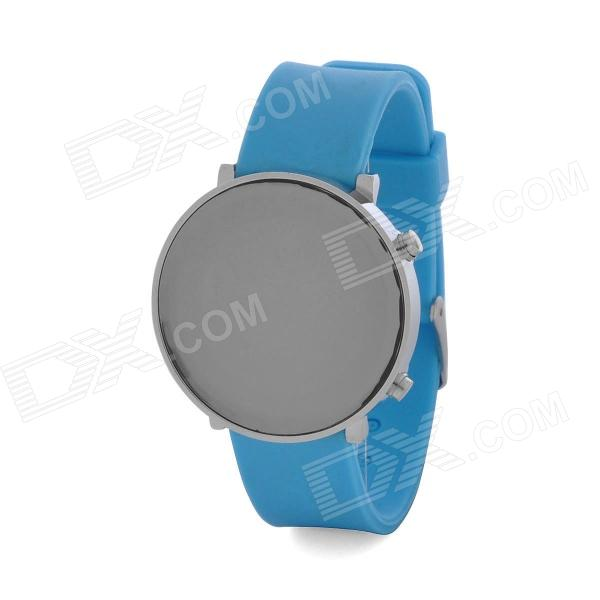 Fashion Silicone Band Red LED Water Resistant Wrist Watch - Blue + Silver (1 x CR2032) fashion stainless steel red yellow led water resistant wrist watch black 2 x cr2016