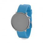Fashion Silicone Band Red LED Water Resistant Wrist Watch - Blue + Silver (1 x CR2032)