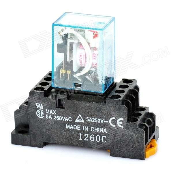 5A Electromagnetic Relay - Black + Blue (AC 220/240V)