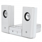 Multi-Function Mini Speaker w/ US Plug for iPhone / iPod / AUX - White (3.5mm Audio Jack / 60cm)