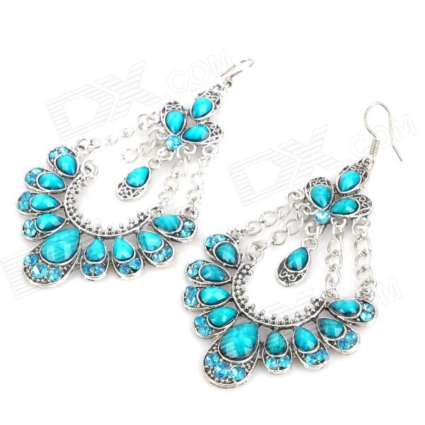 Elegant Acrylic Sapphire Peacock Style Earrings - Blue + Silver (Pair)