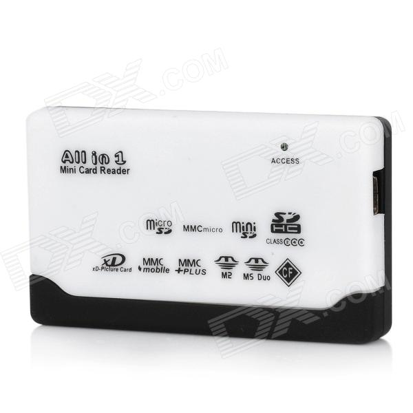 6-in-1 Card Reader with LED Indicator - Black + White