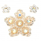 Plum Blossom Shaped Strass Ohrringe + Anhänger Set - Golden