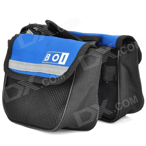 Bicicleta Bike Frame Saddle Style Front Tube Canvas Bag - Azul + Negro