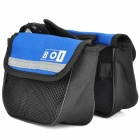 Bike Bicycle Frame Saddle Style Front Tube Canvas Bag - Blue + Black