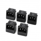AC 250V 10A Power Socket Outlet with Fuse Base - Black (5-Piece Pack)