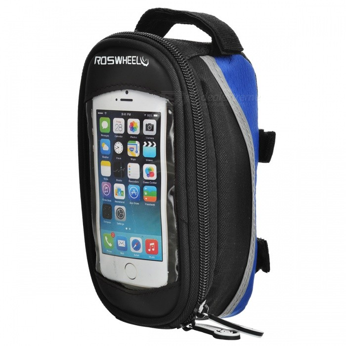 Roswheel Outdoor Fashion Top Tube Belt Bag - Black + Blue + Grey roswheel outdoor cycling bike top tube triangle bag green