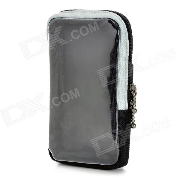 Bike Bicycle Quick Release Zippered Pouch for Touch Screen Mobilephone - Black