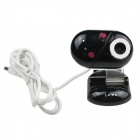 Heart Style USB 2.0 2.0MP PC Camera Webcam with Microphone / 3-LED Night Vision Light - Black