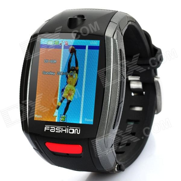 "F6 GSM Wrist Watch Phone w/ 1.8"" Resistive, Quad-Band and Single-SIM - Black + Grey"