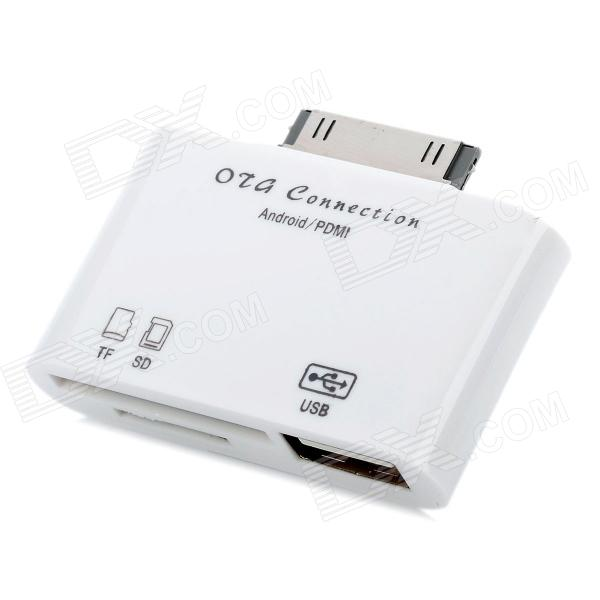 USB SD / TF Card Reader OTG Connection for Samsung Galaxy Tab P7510 / P7500 / P7300 / P7310 - White