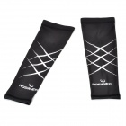 Roswheel Cycling Bicycle Protective Sunscreen Arm Oversleeves - Black + White (Pair/Size L)