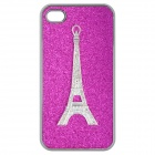 Stylish Eiffel Tower Pattern Protective Back Case for iPhone 4 / 4S - Purple