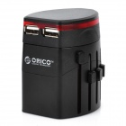 Travelling Universal AC Power Adapter Charger with Dual USB - Black (UK / US / EU / AU Plug)