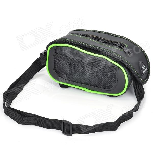 Roswheel Crocodile Pattern Cycling Bike Bicycle Top Tube Bag - Black + Green roswheel 12659 waterproof cycling bicycle pu top tube double storage bag black