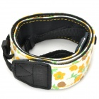 Adjustable Canvas Fabric Neck / Shoulder Sling Strap for DSLR / SLR Camera - White + Yellow