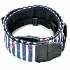 Adjustable Canvas Fabric Neck / Shoulder Sling Strap for DSLR / SLR Camera - Blue Strip