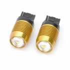 T20 9W 800LM 8000K LED Car Backup White Light Lamp - Yellow + Black (12~14.5V / Pair)