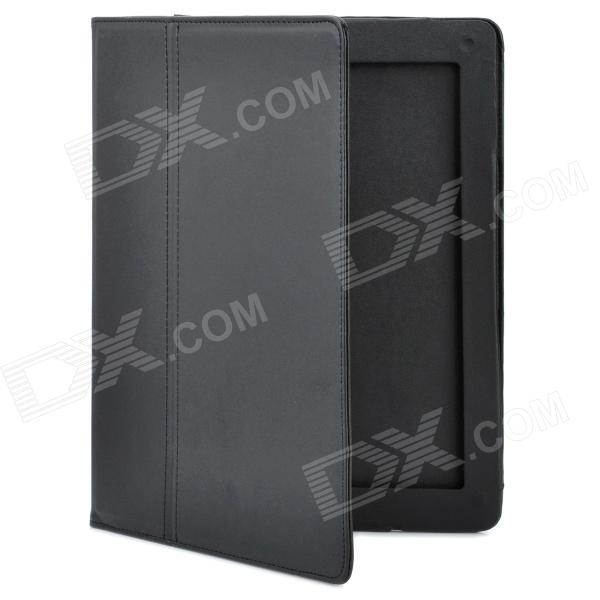 Protective PU Leather Case + Glossy Protector + Stylus Touch Pen Set for Ipad 2 / New Ipad - Black silicone charging stand anti lost cap cover for ipad pro pencil touch stylus pen l059 new hot