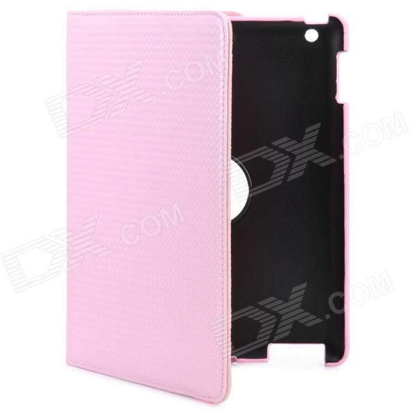 Protective 360£ Rotation PU Leather + Plastic Case for Ipad 2 / New Ipad - Pink