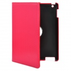 Woven Pattern Protective PU Leather Case for iPad 2 / The New iPad - Red