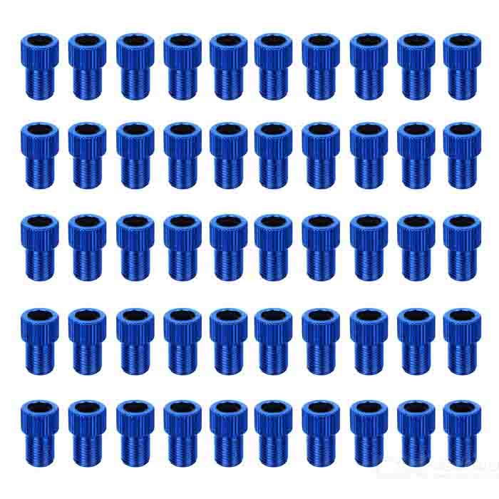 Bicycle Presta to Schrader Valve Adapter - Blue (50-Piece-Pack)
