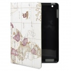 Stilvolle Map-Stil Auto Wake-up / Sleep Protective PU Leather Case für iPad 2 / das neue iPad - Beige