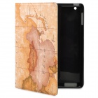 Voyage Map Pattern Protective PU Leather Case for iPad 2 / New iPad - Tan