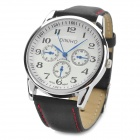 Fashion Round Dial PU Leather Men's Quartz Wrist Watch (1 x LR626)