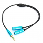 3.5mm Male to 2 x 3.5mm Female Splitter Cable - Black + Blue (25cm)