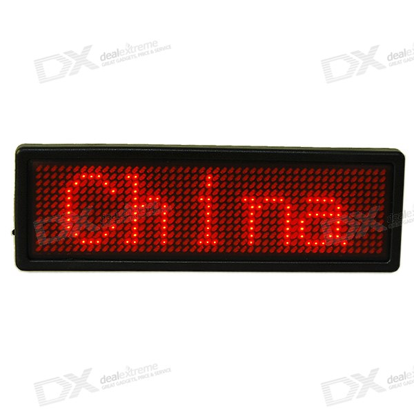 Grand rechargeable défilement LED texte Badge avec port USB (anglais + chinois + multilingue)
