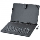 "USB Wired 83-Key Keyboard PU Leather Flip-Open Case for 10"" Tablet PC - Black"